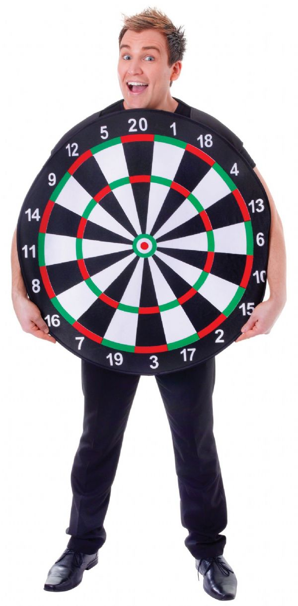 Adults Dart Board Sport Costume Games Fancy Dress Outfit